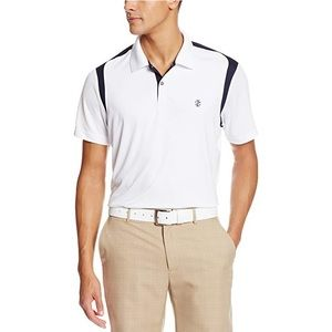 Izod Golf White Navy Saddle Shoulder Polo Shirt L